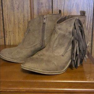 Heeled fringe ankle booties